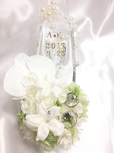 【プリザーブドフラワー/ガラスの靴リングピロー】白い胡蝶蘭が夢見る幸せと白い薔薇とジャスミンの祝福【リボンラッピング付き送料無料】 B00H7O7E0Q