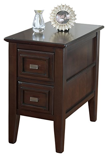 Ashley Furniture Signature Design - Larimer Chair Side End Table - 2 Drawer - Rectangular - Dark Brown (Tables End Drawers With)