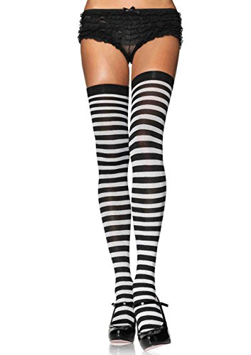 Black And White Striped Socks Costume (Leg Avenue Women's Nylon Striped Stockings, Black/White, One Size)