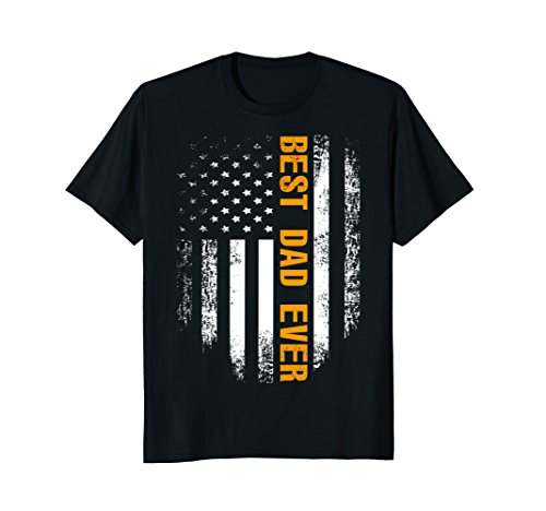 Best Dad Ever T-Shirt American Flag Cool Father's Day Gift