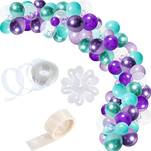 R HORSE 123 Packs Mermaid Balloon Garland Balloon Arch Garland Kit Purple Blue Metallic Color Confetti Balloons Decorating Strip Party Supplies for Birthday Wedding Baby Shower Party Decorations