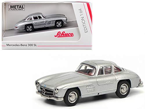 Mercedes Benz 300SL Gullwing Silver 1/64 Diecast Model Car by Schuco 452015700 ()