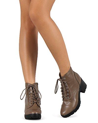 Breckelles Breckelles DD71 Women Leatherette Cap Toe Block Heel Lace Up Combat Boot Beige MM9kRvOUe