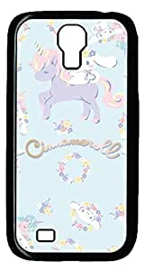 Brian114 Samsung Galaxy S4 Case, S4 Case - Cool Black Back Hard Case for Samsung Galaxy S4 I9500 Cinnamon Roll Unicorn Design Hard Snap-On Cover for Samsung Galaxy S4 I9500