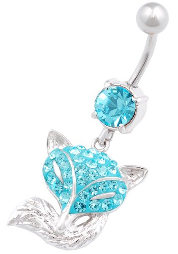belly ring Fox 14g navel bar stainless steel swarovski crystal hang dangly button jewelry BEGT