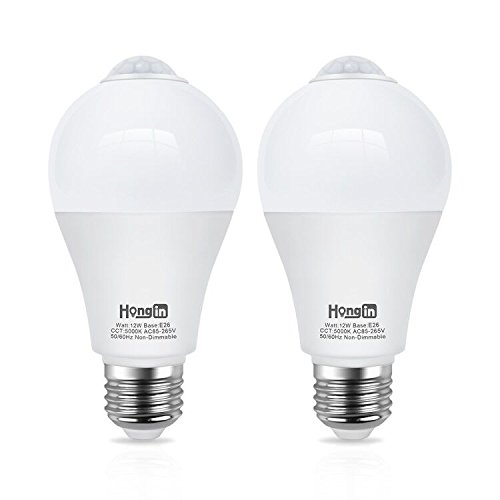 Motion Sensor Light Bulbs, Hong-in 12 Watts E26 Base Smart Bulbs Dusk to Dawn LED Light Automatic On/Off Daylight wihte 5000k 1000Lumens Security Night Lights 2pcs by Hong-in