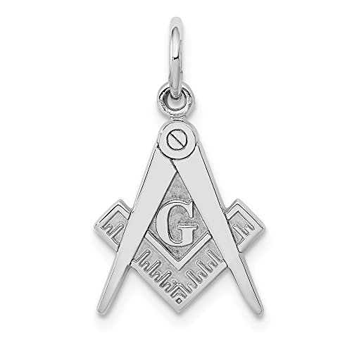 14k White Gold Masonic Freemason Mason Pendant Charm Necklace Career Professional Man Fine Jewelry Gift For Dad Mens For Him