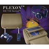 Plexon® Pair of TAN Headrest 7-Inch LCD Car Monitors with Region Free DVD player USB SD Inc- Wireless Headhones and 32 Bit Games
