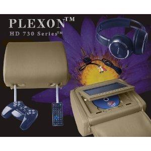 Plexon® Pair of TAN Headrest 7-Inch LCD Car Monitors with Region Free DVD player USB SD Inc- Wireless Headhones and 32 Bit Games by PlexonTM