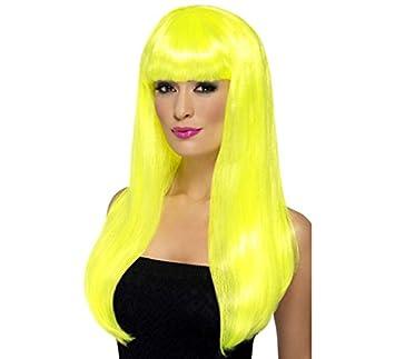 Peluca Melena Larga Lisa color Amarilla Neón o Fluorescente