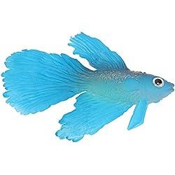ttnight Aquarium Silicone Fish, Artificial Floating Plactic Fake Fish for Aquarium Decorations Fish Bowl Decorations Ornament (Blue)