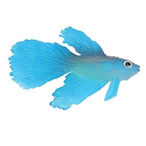 (ttnight Aquarium Silicone Fish, Artificial Floating Plactic Fake Fish for Aquarium Decorations Fish Bowl Decorations Ornament (Blue))