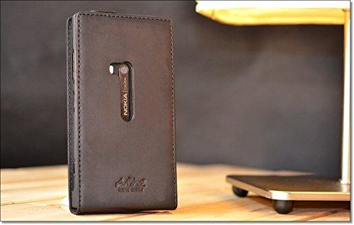 Original Akira Hand Made [Echt Leder] Handyhülle Nokia Lumia 920 Cover Handgemacht Case Schutzhülle Etui Flip Wallet Pen [DEUTSCHER FACHHANDEL] Schwarz