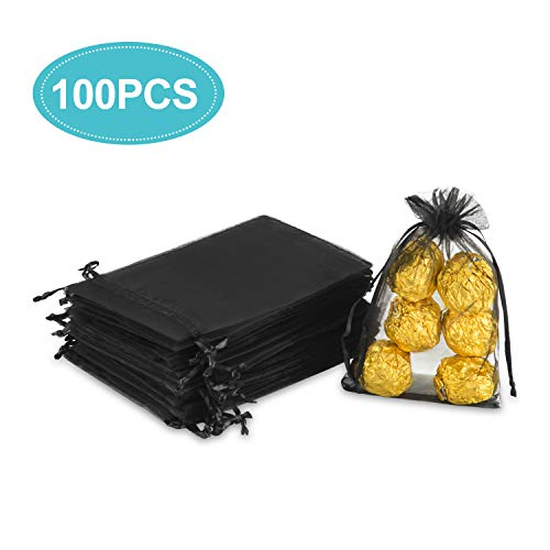 Hopttreely 100PCS 4x6 (10x15cm) Sheer Drawstring Gift Bags, Black Organza Wedding Party Favor Pouches Jewelry Christmas Festival Gift Bags