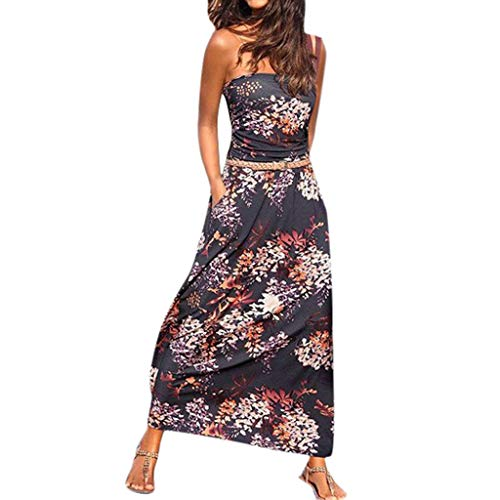 Dress for Women Casual Summer Maxi Dresses Off Shoulder Strapless Boho Loose with Pocket (XXL, Multicolor)