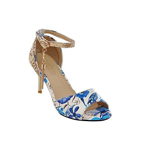 Carolbar Imprimé Floral Peep Toe Cheville Sangle Boucle Strass Pendentif Paillettes Haut Talon Aiguille Robe Sandales Bleu