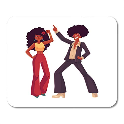 Emvency Mouse Pads Man and Woman with Afro Hair and 1970S Dancing Disco Cartoon White Young and in Flares with African Mouse Pad 9.5
