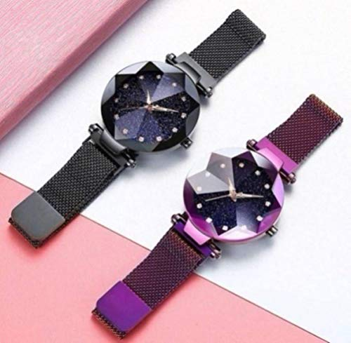Acnos Black Round Diamond Dial with Latest Generation Black & Purple Magnet Belt Analogue Watch for Women Pack of – 2…