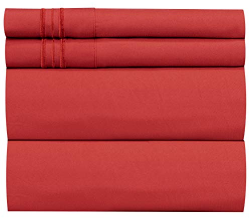 King Size Sheet Set - 4 Piece - Hotel Luxury Bed Sheets - Extra Soft - Deep Pockets - Easy Fit - Breathable & Cooling Sheets - Wrinkle Free - Comfy - Red Bed Sheets - Kings Sheets - 4 PC (Deep Red Bedding)