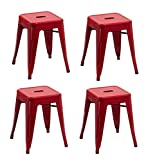 Duhome 4 pcs 18'' Metal Chairs Tolix Style Dining Stools Indoor Outdoor Restaurant Cafe Industrial Design (Red)