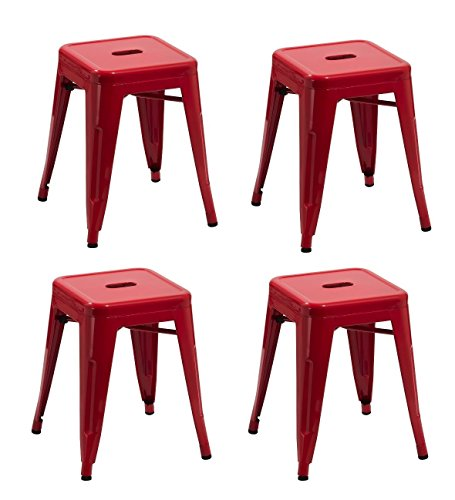 Duhome 4 pcs 18'' Metal Chairs Tolix Style Dining Stools Indoor Outdoor Restaurant Cafe Industrial Design (Red) by Duhome Elegant Lifestyle