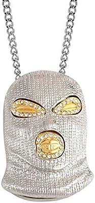 ba709807f23c Bobury Hombres Mujeres Punk máscara de Hip Hop del Collar de la Cabeza de  Cristal de aleación Colgante de joyería de la Cadena suéter de la joyería