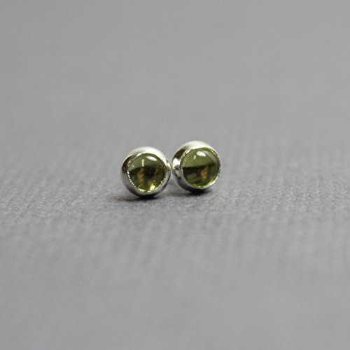 Peridot Stud Earrings in Sterling Silver-3mm-Sterling Silver