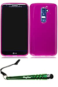 LG Optimus G2 (GSM) Crystal Skin Hot Pink Case Cover Protector Include FoxyCase Stylus cas couverture