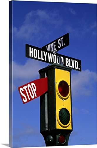 greatBIGcanvas Gallery-Wrapped Canvas entitled California, Los Angeles, Hollywood and Vine stoplight by John Bachmann 24''x36'' by greatBIGcanvas