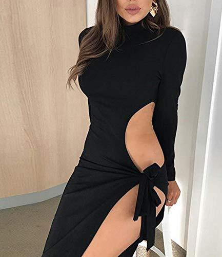 de Partido Moda Hueco Manga Larga Club Fiesta Corto Paquete Sexy Cadera de Gala Vestidos Vestido Vestido Vendaje Mujeres Otoño Negro Primavera xTXqSPw