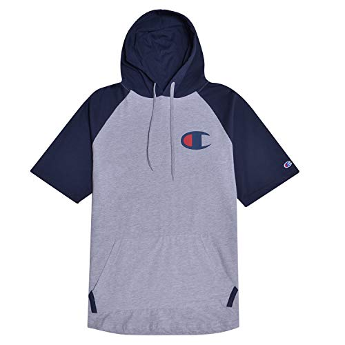 Champion Big and Tall Mens Short Sleeve Hoodie Raglan With Big C Chest Logo