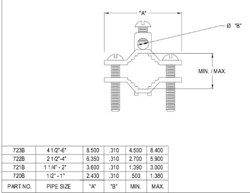 Arlington 722B-1 Solid Brass Bare Wire Ground Clamp with Steel Screws, Fits 2-1/2-inch to 4-Inch Pipes, Bronze, 1-Pack