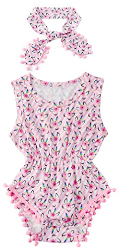 - Leapparel Toddler Unisex Baby Rompers Flying Sleeve Bodysuit Unicorn Print Jumpsuit for Daily Wear (0-6 Months,Pink)