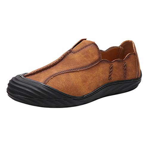 JUSTWIN Men Leather Shoes Leather Outdoor British Style Retro Business Leather Shoes Brown