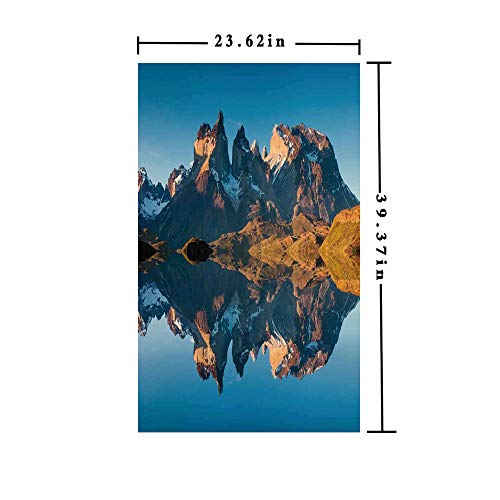 Homenon Window Film Decorate Glass Film 3D Printed,Majestic Rocky Mountains with Reflections on The Lake Creek Idyllic Landscape,W15.7xL63in,No Glue Static Cling Glass Sticker with Blue -