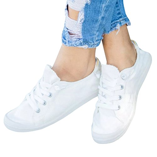 Ashuai Womens Canvas Shoes Low-Top Sneakers Lace Up Tennis Shoes