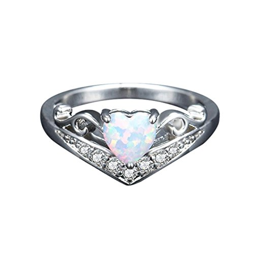 Icocol New Elegant Exquisite Heart Shape Women's Silver Ring Oval Cut Fire Opal Diamond Band Rings Accessories for Wedding Party Banquet Daily (Size (Exquisite Heart)