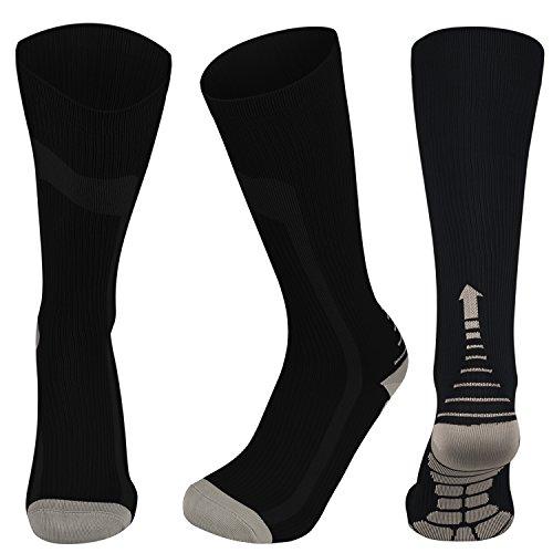Compression Socks for Men&Women (20-30 mmHg) Athletic Fit for Running,Nurses,Shin Splints, Flight Travel &Varicose Veins-Boost Stamina (Black&Gray, L/XL (US Women 8-15.5 / US Men 8-14)) by MillionPlan You have a plan