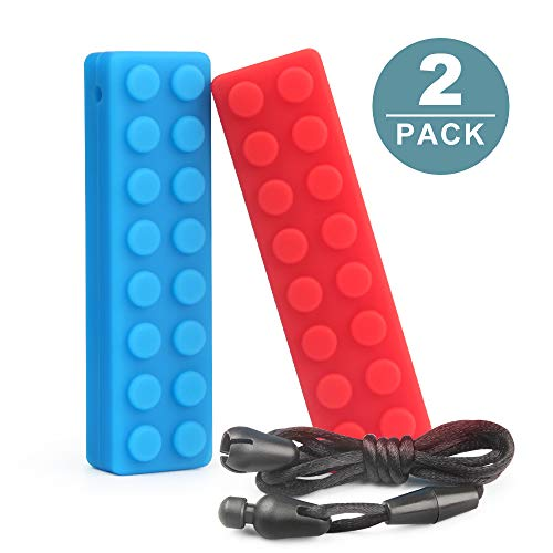 Sensory Chew Necklace for Boys and Girls Block Brick Teether Silicone Chewing Pendant Perfect for Autism ADHD SPD Oral Motor Teething & Biting Needs 2 Packs Tough and Long-Lasting Chewelry Toys