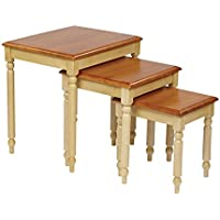 Office Star Country Cottage Collection 3-set Nesting Side Tables in Buttermilk and Cherry Finish