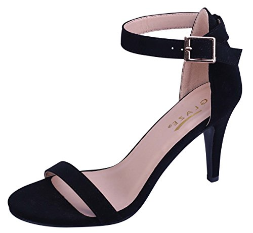 Dance Strappy Sandals (Glaze Women's Ankle Strappy Open Toe Stiletto Heel Dress Sandal (10 B(M) US, Black))