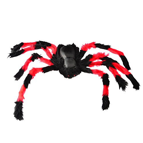 [75cm Large Size Plush Black & Red Spider made of wire and plush Funny Toy for party or Bar KTV halloween] (Black Spider Animated Prop)