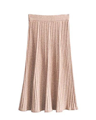 Jupe Unie Couleur Femmes Chameau A vas Line En Tricot Jupe Confortable Taille Longue Haute Tricot Ample Casual wOC8Hw