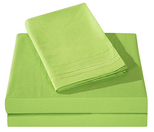 Honeymoon 1800 Brushed Microfiber Embroidered Bed Sheet Set Ultra Soft Full - Lime Green