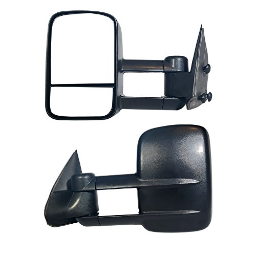 Make Auto Parts Manufacturing Premium Front Driver Side Black Manual Operated Telescopic Type Manual Folding Dual Glass Towing Mirror For Chevrolet Avalanche 1500 2002-2006 / GMC Sierra 1500 1999-2006