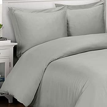 Silky and Soft Bamboo Duvets, 100% Viscose from Bamboo Duvet Cover Set, Gray, 3 Piece King/California King Size Duvet Cover Set