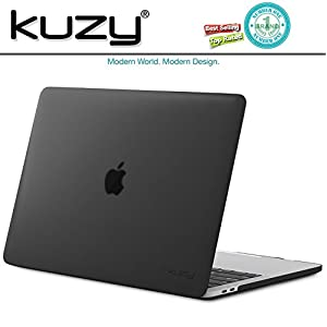 Kuzy - MacBook Pro 13 Case 2017 & 2016, A1706 & A1708 - Rubberized Hard Case (NEWEST Release 2017 & 2016) with/without Touch Bar & Touch ID Shell Cover 13-inch - BLACK