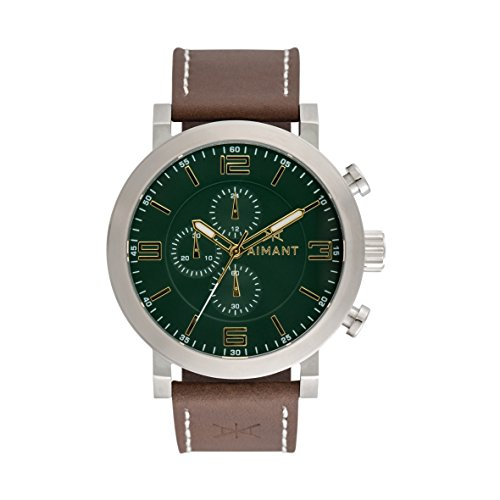 AIMANT-Mens-Maui-Silver-with-Brown-Leather-Band-Watch-GMU-140L5-3S