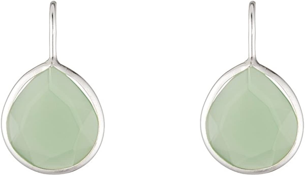 Córdoba Jewels | Pendientes en plata de ley 925 con piedra semipreciosa. Diseño Luxury Mini Gota Verde Silver