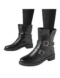 Mikkar Women Flat Short Booties Buckle Strap Leather Boots Shoes Ankle